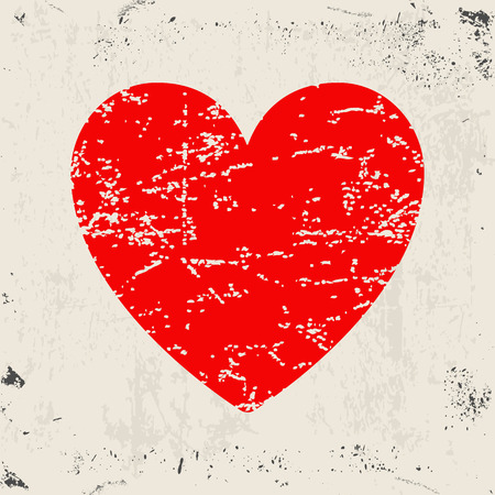 grunge heart: Grunge heart. Red heart on grunge texture background. Vector illustration