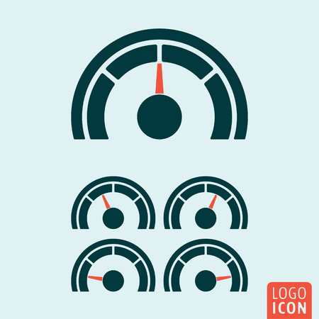 rating gauge: Gauge icon. Speedometer or rating meter symbol. Vector illustration