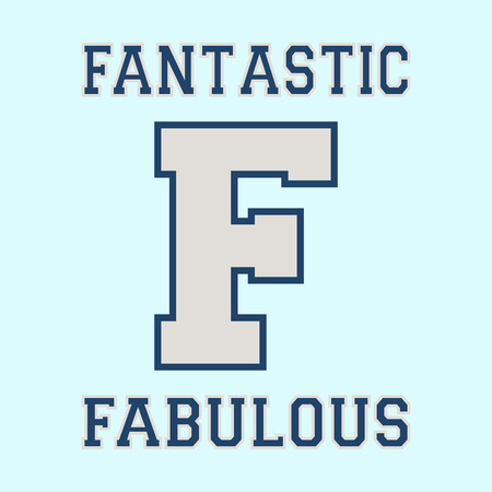 casual wear: Alphabet font template. Letter F. T-shirt print design. Printing and stamp, badge applique label t-shirts, jeans, casual wear. Vector illustration Illustration