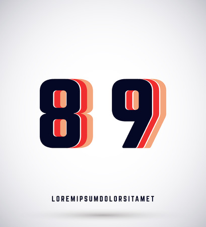 8 9: Set of typographic alphabet font template. Numbers 8, 9
