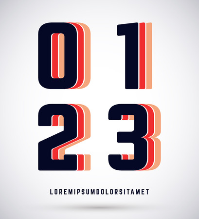 2 0: Set of typographic alphabet font template. Numbers 0, 1, 2, 3 Illustration