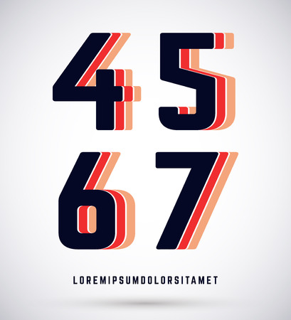 5 6: Set of typographic alphabet font template. Numbers 4, 5, 6, 7