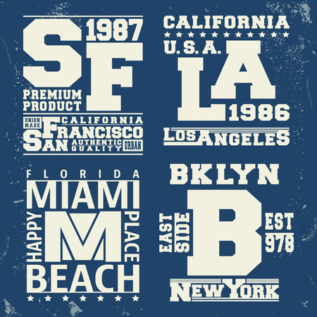 T-shirt print design. New York, Los Angeles, San Francisco, Miami vintage stamp. Printing and badge applique label t-shirts, jeans, casual wear. Vector illustration.