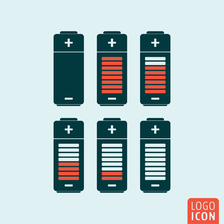 status icon: Battery icon. Battery charge status symbol. Vector illustration