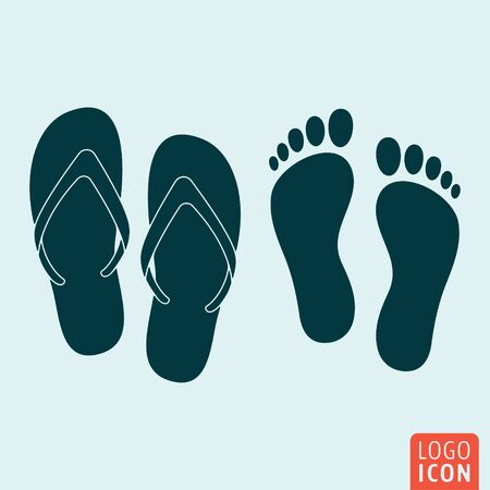 beach slippers: Beach slippers icon. Footprint icon. Vector illustration Illustration