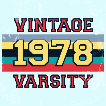 varsity: T-shirt print design. Vintage varsity stamp, poster. Printing and badge applique label t-shirts, jeans, casual wear. Vector illustration.