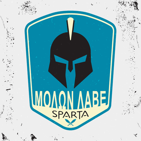 varsity: T-shirt print design. Spartan motto - Molon labe - Come and take. Printing and badge applique label t-shirts, jeans, casual wear. Vector illustration. Illustration