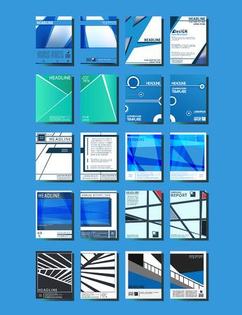 Brochures design template. Cover brochure, flyer, business card layout. Set abstract design cover template for blank, print, journal, presentation, book. Vector illustration Illustration