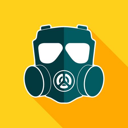 chemical warfare: Gas mask flat icon. Chemical respirator symbol. Vector illustration