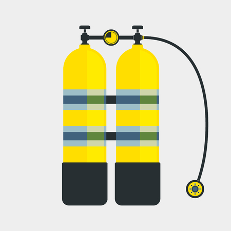aqualung: Aqualung icon. Scuba diving equipment symbol. Vector illustration