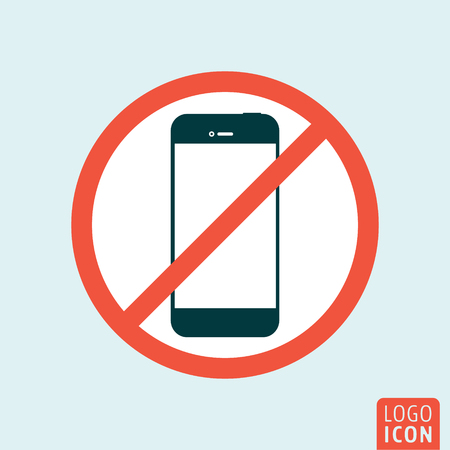 cell phones not allowed: Turn off mobile phone icon. Turn off phone symbol. Vector illustration