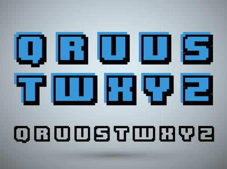 s video: Pixel font alphabet, old video game design. Letters Q R U V S T W X Y Z. Vector illustration.