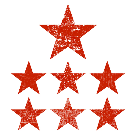 Set of red grunge star. Vector illustration.