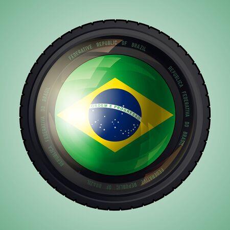 federative republic of brazil: Flag of Brazil in a camera lens. Federative Republic of Brazil flag. Vector illustration. Illustration