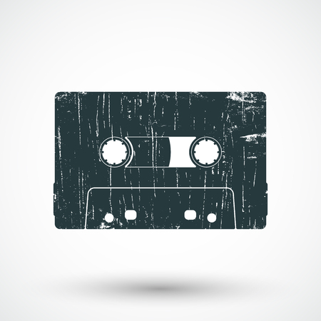 compact cassette: Audio cassette icon. Compact cassette stamp. Vector illustration