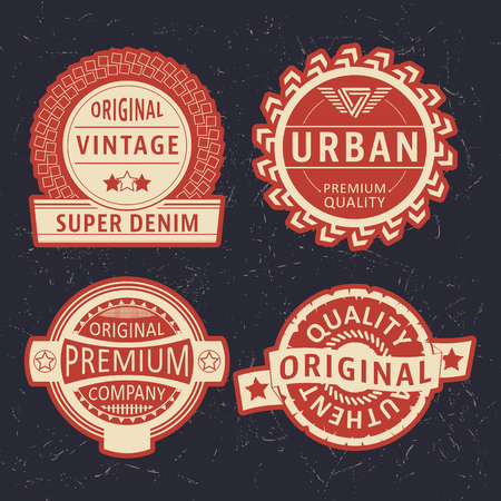 casual wear: T-shirt print design. Vintage label set. Printing and badge applique label t-shirts, jeans, casual wear. Vector illustration.
