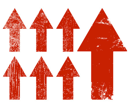 crack up: Set of red grunge arrows. Vector illustration. Illustration