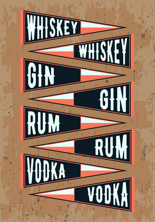 gin: Pennant template set. Pennants with alcohol drinks - whiskey, gin, rum, vodka. Vector illustration