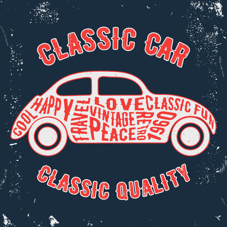casual wear: T-shirt print design. Car vintage stamp. Printing and badge applique label t-shirts, jeans, casual wear. Vector illustration.
