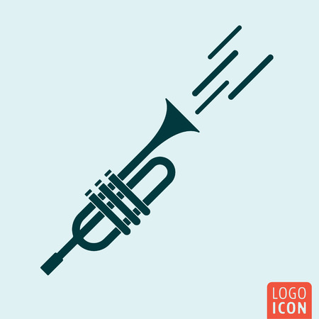 trumpet isolated: Trumpet icon isolated. Signal horn symbol. Vector illustration