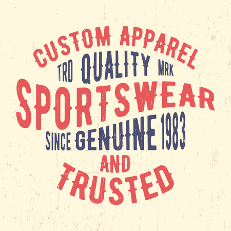 casual wear: T-shirt print design. Sportswear vintage stamp. Printing and badge, applique, label for t-shirts, jeans, casual wear. Vector illustration. Illustration