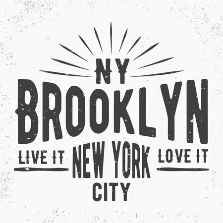 brooklyn: T-shirt print design. Brooklyn vintage stamp, poster. Printing and badge, applique, label for t-shirts, jeans, casual wear. Vector illustration.