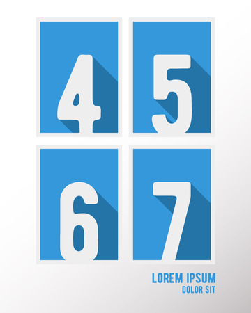 5 6: Alphabet font template. Set of numbers 4, 5, 6, 7  icon. Vector illustration. Illustration