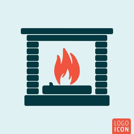 clipart chimney: Fire icon isolated. Fireplace symbol. Vector illustration