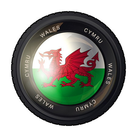 cymru: Wales flag icon. Flag of Wales in a camera lens on white background. Vector illustration.