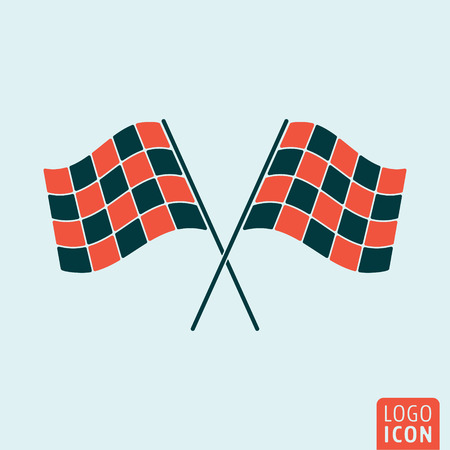 racing checkered flag crossed: Racing flags icon. Start or finish symbol. Vector illustration