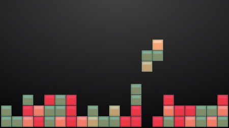 old square: Old video game square template. Colored bricks game pieces. Vector illustration.