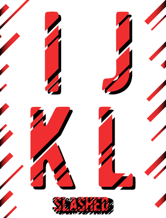 slashed: Alphabet font template. Set of letters I, J, K, L icon. Slashed design. Vector illustration.