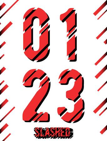 2 0: Alphabet font template. Set of numbers 0, 1, 2, 3 icon. Slashed design. Vector illustration. Illustration