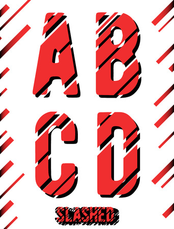 slashed: Alphabet font template. Set of letters A, B, C, D icon. Slashed design. Vector illustration. Illustration