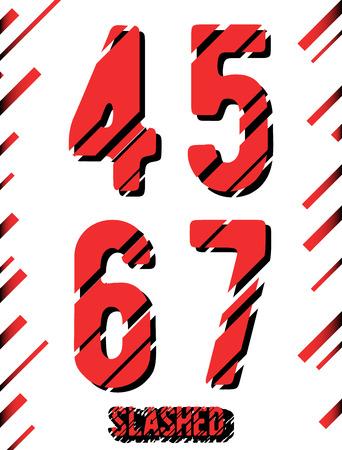 4 5: Alphabet font template. Set of numbers 4, 5, 6, 7 icon. Slashed design. Vector illustration.