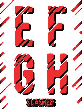 slashed: Alphabet font template. Set of letters E, F, G, H icon. Slashed design. Vector illustration.