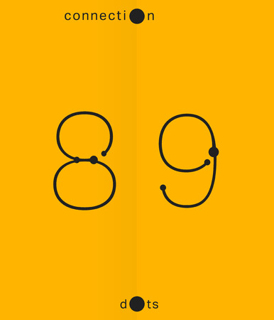 8 9: Alphabet font template. Set of numbers 8, 9 icon. Connection dots design. Vector illustration. Illustration