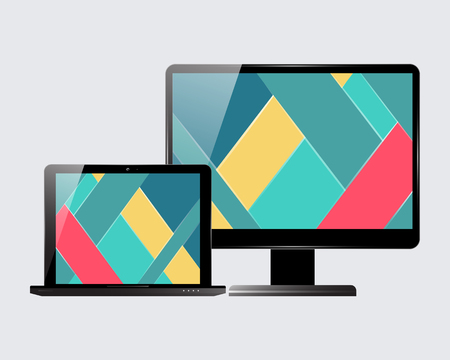 screensaver: Laptop and computer display. Material design screensaver. Vector illustration. Illustration