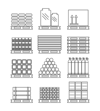 Pallet with various cargo set. Vector illustration.