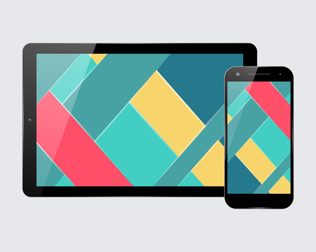 screensaver: Tablet PC and mobile smartphone. Material design screensaver. Vector illustration.