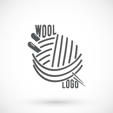 knitwear: Knitwear logo, label or badge. Wool and needle symbol. Vector illustration.