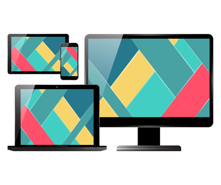 pc monitor: Computer monitor, smartphone, laptop and tablet pc set. Electronic devices with material design screens. Vector illustration.