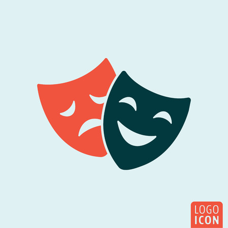 tragedy: Theatre mask icon. Comedy and tragedy theater masks symbol. Vector illustration