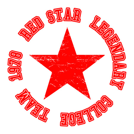 T-shirt print design. Red star vintage stamp. Printing and badge, applique, label for t-shirts, jeans, casual wear. Vector illustration.