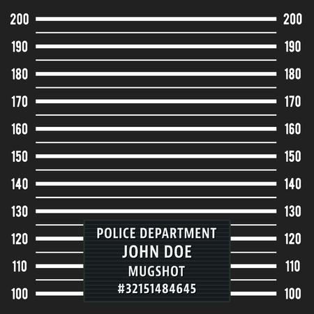 lineup: Police mugshot. Police lineup on black background. Vector illustration