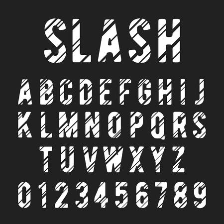 slashed: Alphabet font template. Letters and numbers slashed design. Vector illustration.