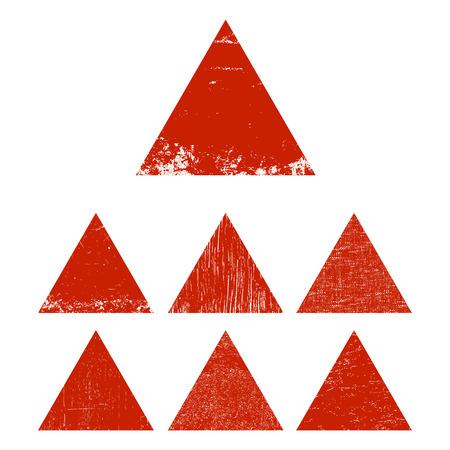 Set of red grunge triangle. Vector illustration.