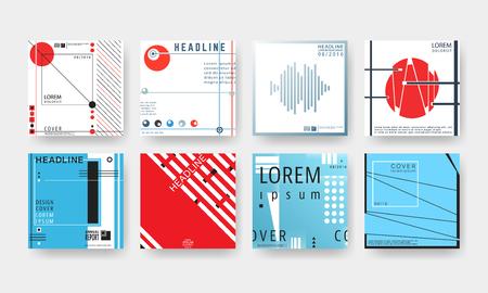 Set of trendy geometric design covers brochure or flyer background template. Vector illustration. Illustration