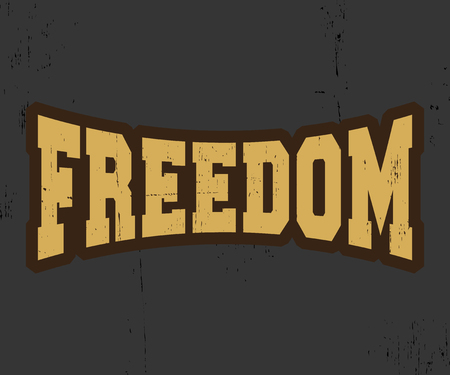 casual wear: Freedom. T-shirt print design. Printing and badge applique label t-shirts, jeans, casual wear. Vector illustration.