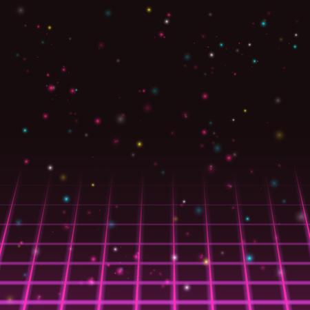 Start screen of old video game. Retro PC game design. Vector illustration.